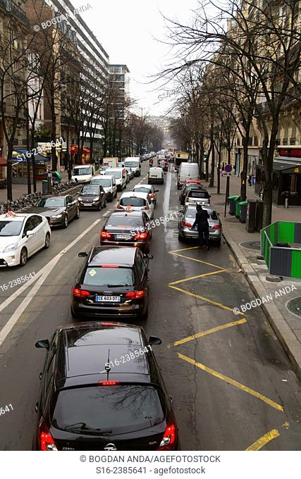 Paris, France - downtown rush hour during a snowless winter afternoon