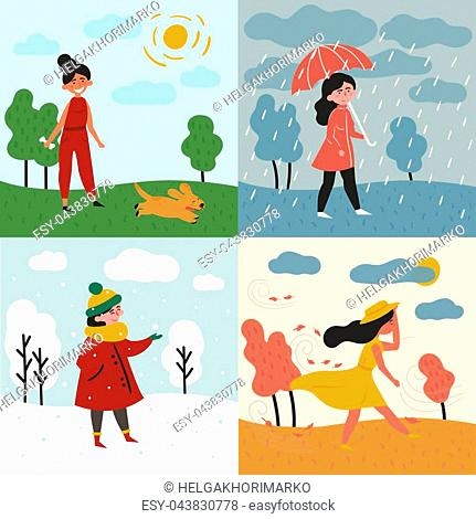 A girl in all four seasons and weather. Windy for autumn, snowy winter, rainy for spring and sunny is summer. Female in different poses and cloth, umbrella