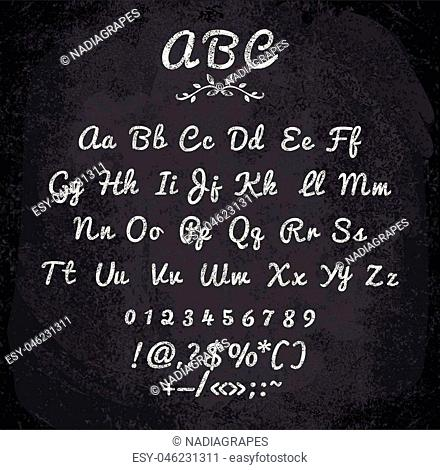 Vector illustration of chalked alphabet. Imitation texture of chalk