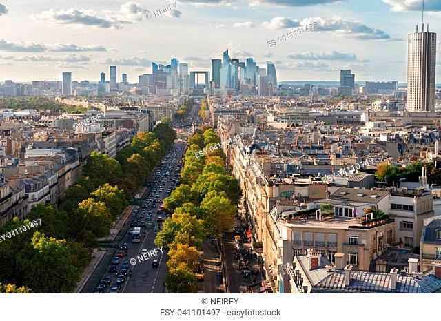 skyline of Paris city towards La Defense district from above, France