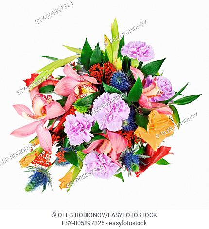 colorful floral bouquet from roses,cloves and orchids isolated on white background