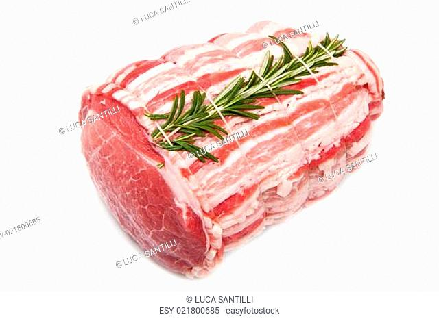 raw meat with rosemary