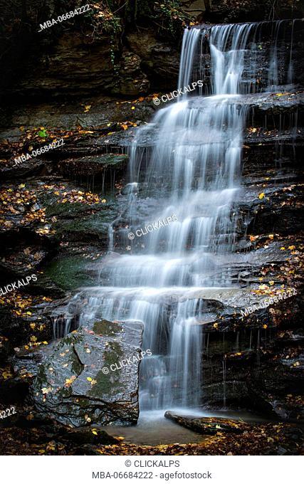 Foreste Casentinesi National Park, Badia Prataglia, Tuscany, Italy, Europe. The waterfall detail