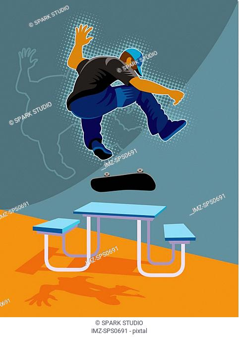 A man skateboarding over a picnic table
