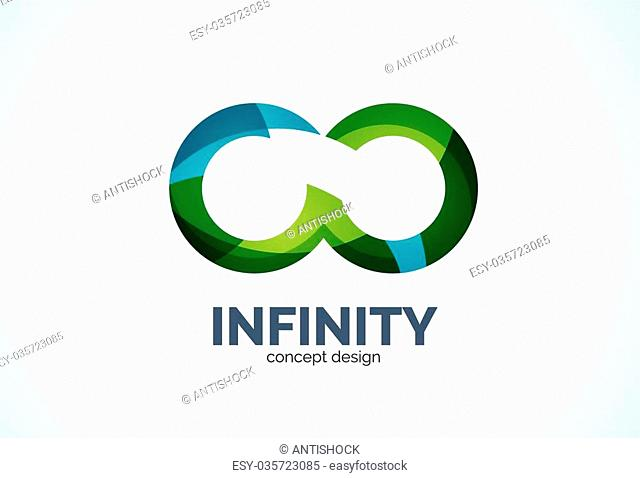 Infinity company logo icon, business circle and ring design element of flowing overlapping shapes