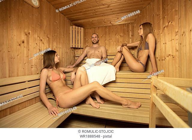 Three People Relaxing In Sauna, Osijek, Croatia, Europe