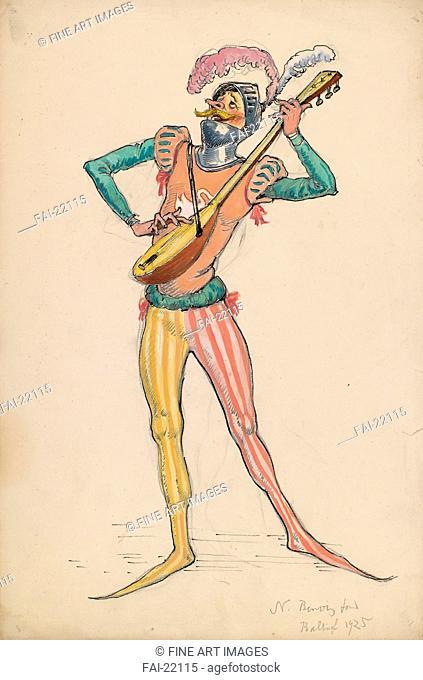 The Troubadour. Costume design for the theatre La Chauve-Souris (The Bat) directed by Nikita Balieff. Benois, Alexander Nikolayevich (1870-1960)