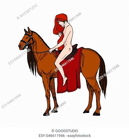 Nude women riding a horse. Lady Godiva. Colorful illustration