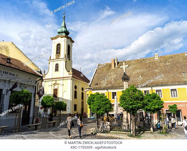 Szentendre near Budapest Main Square foe ter with plague Column and the Blagovescenska church Szentendre, which calls itself the town of artists and churches