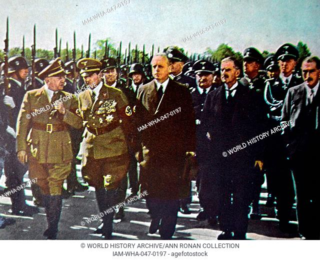British Prime Minister Neville Chamberlainin Munich to conclude the peace for our time. agreements (Munich Agreement) with Nazi germany