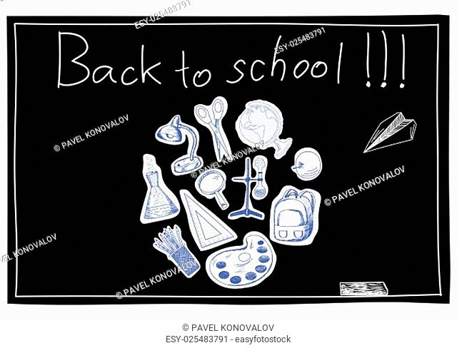 Blackboard with educational symbols cut from notebook paper