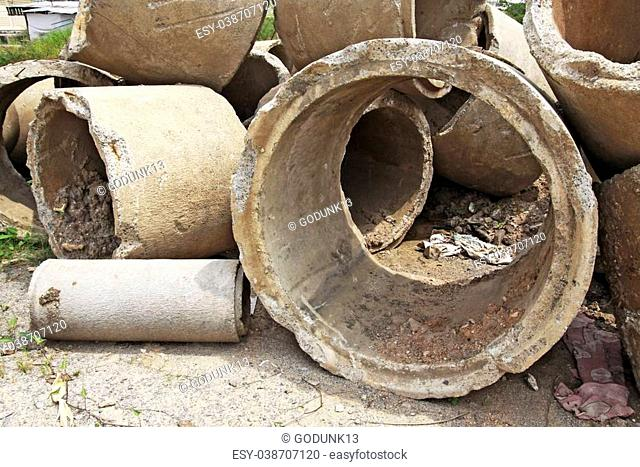 Concrete drainage pipe on a construction site