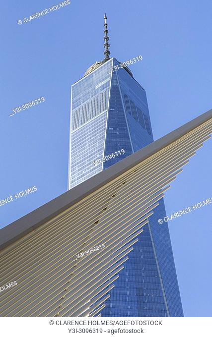 The ribbed wings of the Oculus World Trade Center Transportation Hub contrast with One World Trade Center (Freedom Tower) in New York City