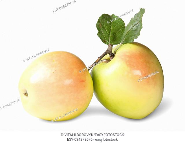 Two Juicy Apple With Green Leaf Isolated On White Background