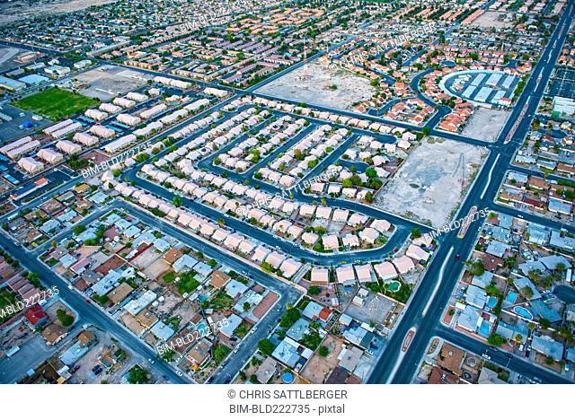 Aerial view of suburban houses, Las Vegas, Nevada, United States