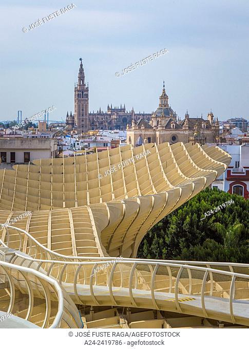 "Spain , Andalucia Region, Sevilla City ,Encarnacion Square, Metropol Parasol known as """"Las Setas"""", Giralda Tower"