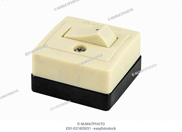 Retro power switch isolated on white background with clipping path
