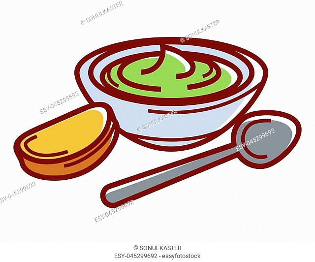 Avocado paste in bowl with small toast and spoon isolated cartoon flat vector illustration on white background. Delicious natural homemade sauce on sour cream...