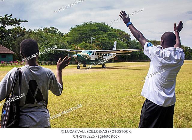 Plane landing in Rusinga Island Lodge, Rusinga Island, Lake Victoria, Kenya