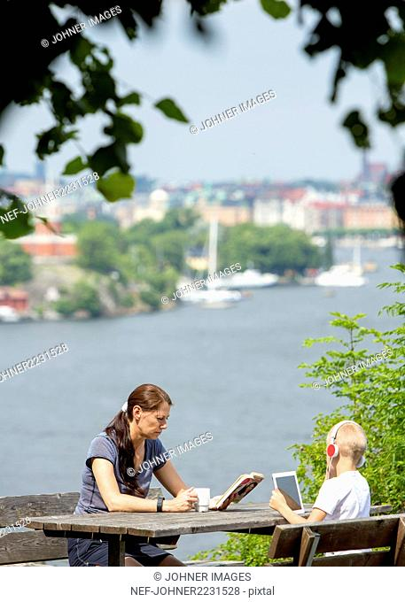 Mother with son relaxing