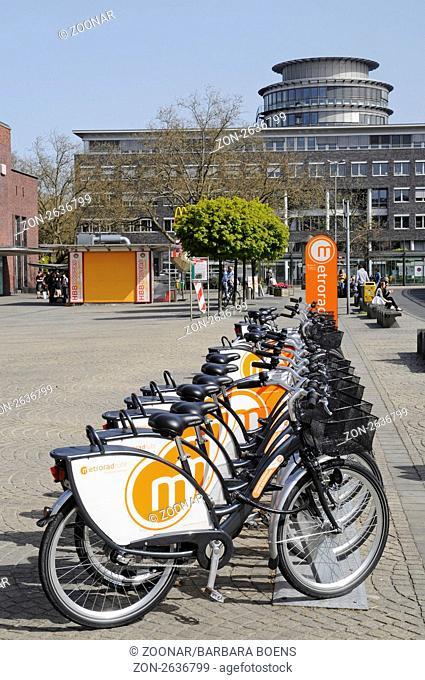 Metrorad-Ruhr, bike rental station, Main station, Oberhausen, North Rhine-Westphalia, Germany, Europe, Metrorad Ruhr, Mietfahrraeder, Hauptbahnhof, Oberhausen