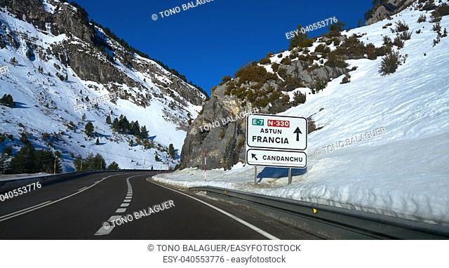 Candanchu road signal in Huesca on Pyrenees at Spain