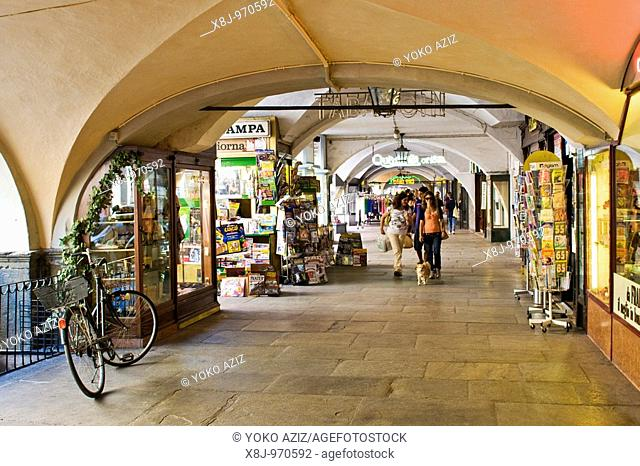 Arcades in the city center, via Roma, Cuneo, Italy