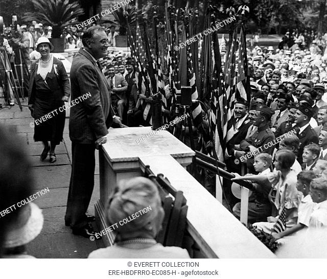 Future President Franklin D. Roosevelt (left of center), campaigning at Hyde Park, New York, July 12, 1932
