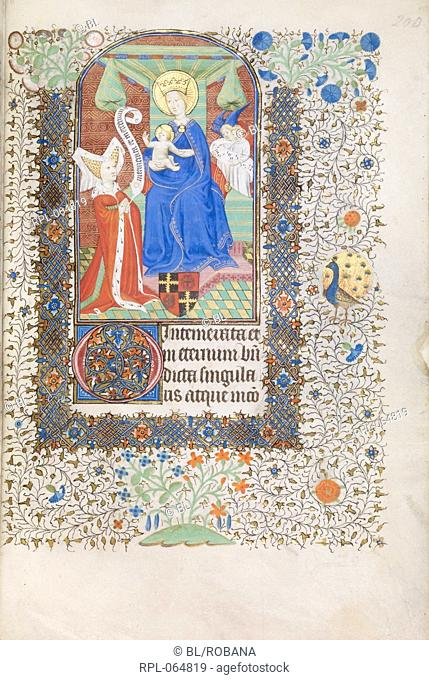 Virgin and Child with patron Miniature and text Prayers. The Virgin and Child with the patron Margaret Oldhall wife of Sir William Oldhall of Narford co Norfolk...