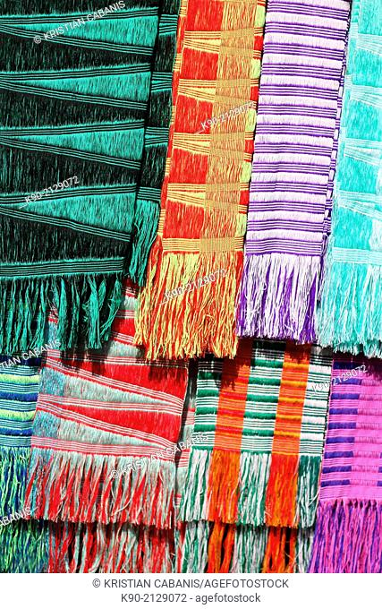 Colorful scarfs with typical local texture, Mae Hong Son, Thailand, Southeast Asia