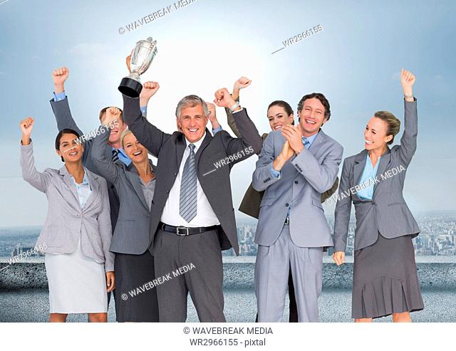 business company with trophy in front of the city