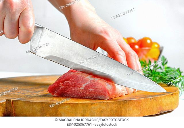 Stainless steel butcher knife cut meat