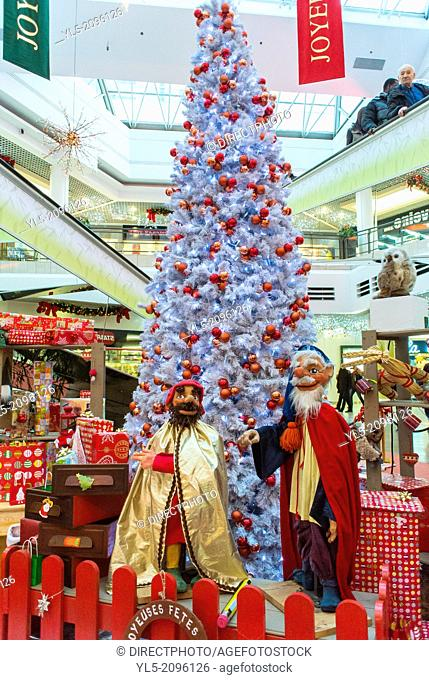 """Paris, France, Christmas Decorations inside Shopping Mall in Montreuil """"""""La Grande Porte""""""""."""