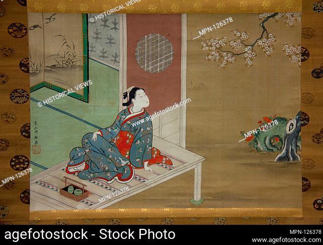 Courtesan Resting on the Veranda. Artist: Furuyama Moromasa (Japanese, 1712-1772); Period: Edo period (1615-1868); Date: 18th century; Culture: Japan; Medium:...
