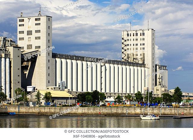 Grain silos of the grain merchant company Bunge in the port of Quebec City, Canada