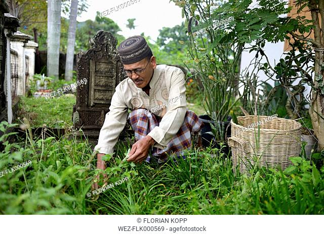 Indonesia, Aceh, Lam Rukam, man caring for garden with gravestones in memory of his dead relatives