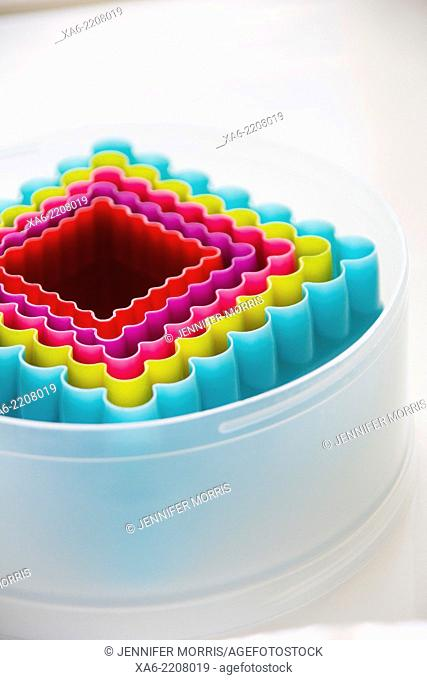 Colourful plastic cookie cutters