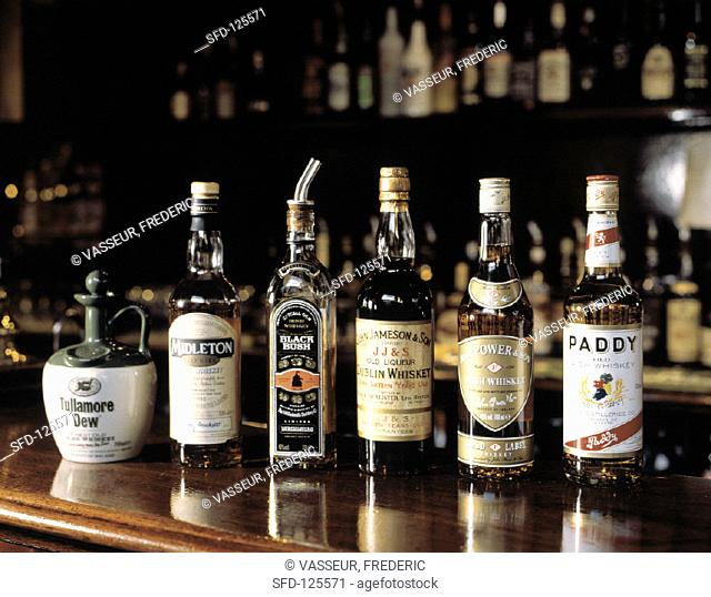 Assorted Types of Irish Whiskey in Bottles