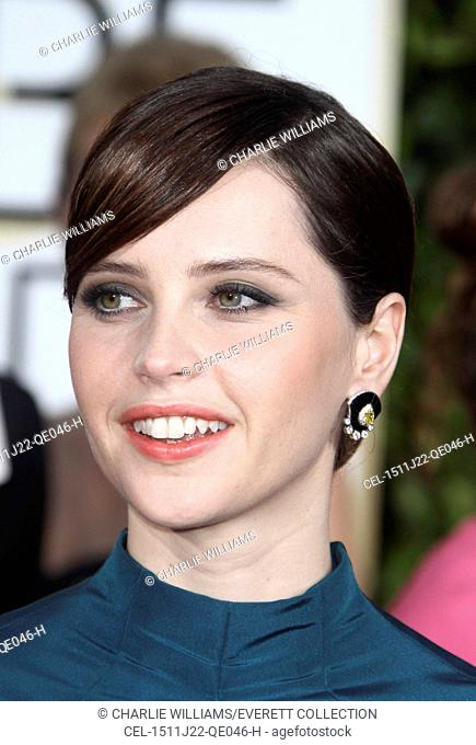 Felicity Jones at arrivals for The 72nd Annual Golden Globe Awards 2015 - Part 3, The Beverly Hilton Hotel, Beverly Hills, CA January 11, 2015