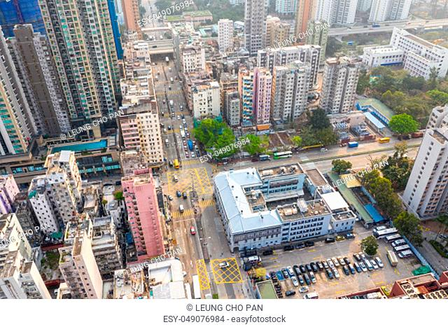 Sham Shui Po, Hong Kong, 19 March 2019: Drone fly over Hong Kong residential district
