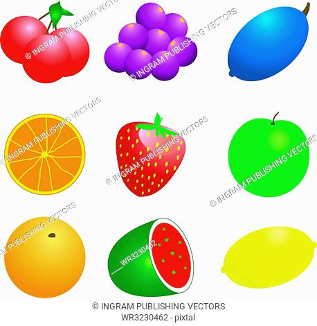 Illustration of a number of fruit and veg that could be used as a background