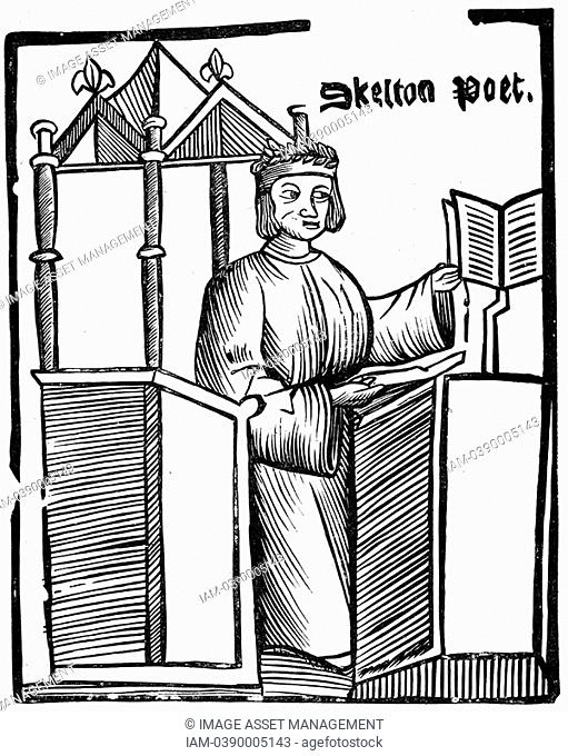 John Skelton 1460-1529 English satirical poet  Tutor to Prince Henry later Henry VIII  From an edition of 'Colyn Cloute' his long poem against Cardinal Wolsey...