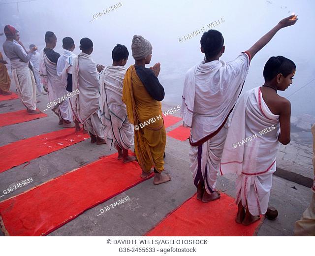 Children practicing yoga, Varanasi, Uttar Pradesh, India