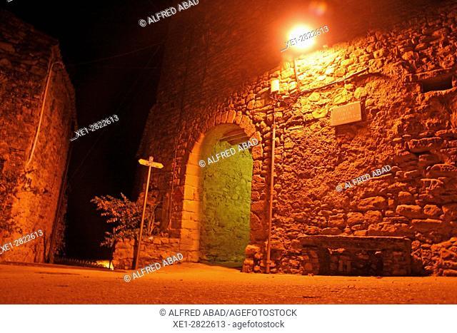 Square with arcade at night, Madremanya, Girona, Catalonia, Spain