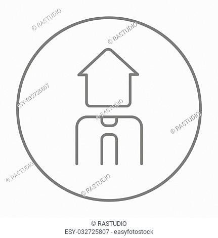 Real estate agent line icon for web, mobile and infographics. Vector grey thin line icon in the circle isolated on white background