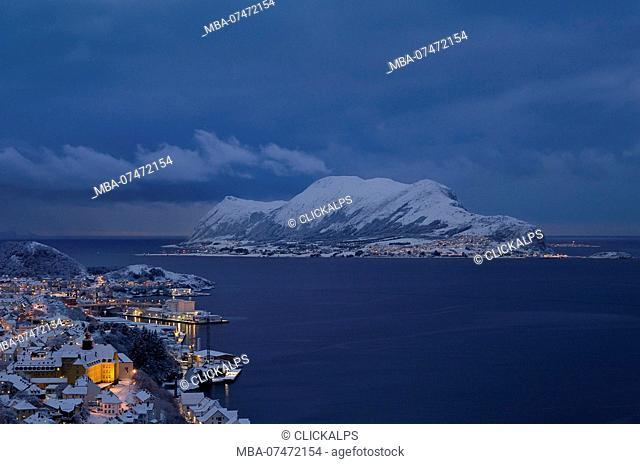 Winter blue hour at Godoy island, Vestlandet, More og Romsdal county, Norway, Europe