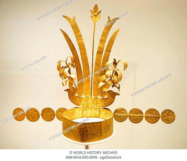 Ceremonial crown; gold alloy; from the Island of Nias, off the west coast of north-central Sumatra, Indonesia. late 19th Century AD