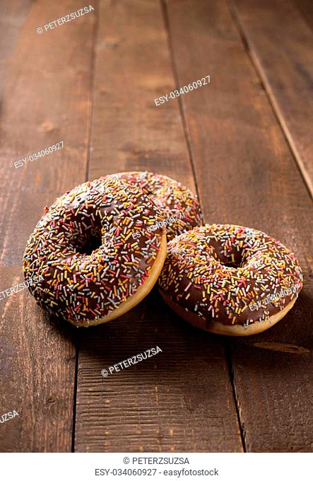 donuts on rustic kitchen table
