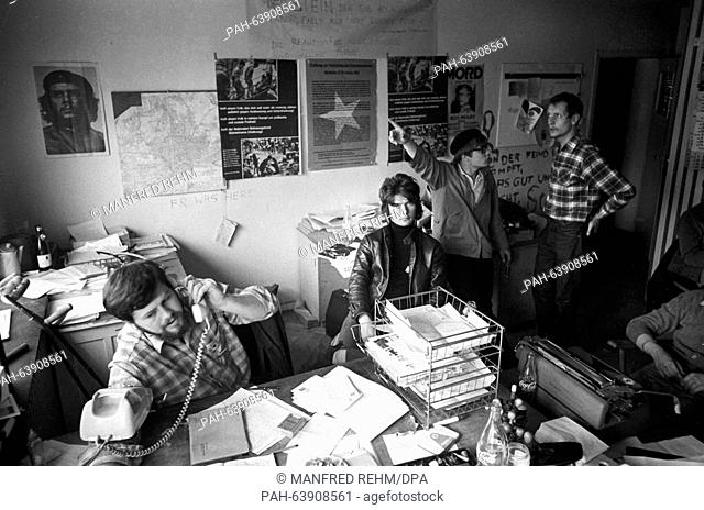 Members of the SDS during the preparations for actions against the emergency law in Frankfurt am Main on 13 May 1968. - Frankfurt/Hessen/Germany