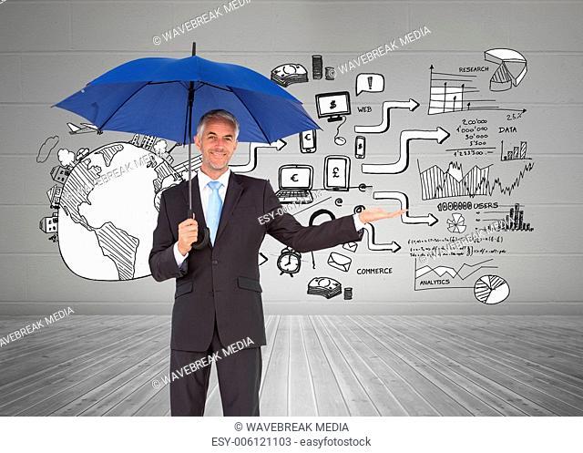 Composite image of peaceful businessman holding blue umbrella